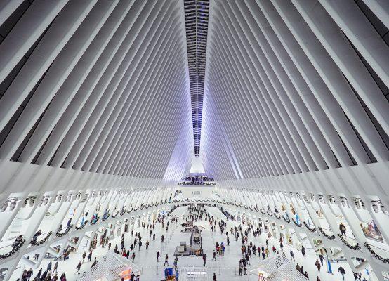 Fotografía gran angular del Edificio Calatrava Oculus, New York.